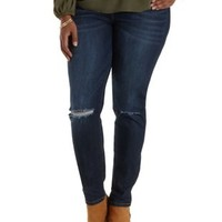 Med Wash Denim High-Waisted Skinny Jeans by Charlotte Russe