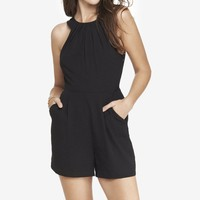 SLEEVELESS PLEATED FRONT ROMPER