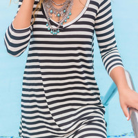 Follow Your Heart Black Striped V-Neck Long Sleeve Dress