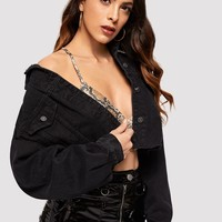 Drop Shoulder Ripped Crop Denim Jacket