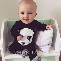 2016 autumn baby boy girl clothes panda pattern baby rompers long sleeve  infant  baby clothing