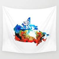 Canada - Canadian Map By Sharon Cummings Wall Tapestry by Sharon Cummings