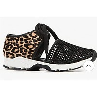 Summer plus size leopard print sports sandals women's mesh wedges sneakers
