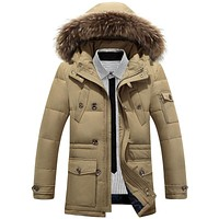 Men White Duck Down Jacket Thick Warm Parka Boutique Fashion Fur Collar Solid Color Casual Long Section Coat With Pockets 2598