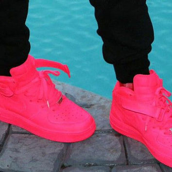 Custom Neon Pink Nike Air Force 1 Mid Top From Solezllc On Etsy