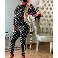 Louis Vuitton Women High Collar zipper Long Sleeve Top Pants Trousers Set Two-Piece