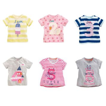 Baby Girls 100% Cotton Tees New 2017 Summer Brand Quality t shirts Children Kids Clothes T-Shirts Short Sleeve Baby Girls Blouse