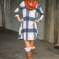 Plaid Timing Dress, Navy