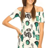 White Column Cactus-pattern Party Dress
