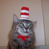 $8.50 Cat In The Hat Hat For A Cat Crocheted Dr Seuss by SarabiRose