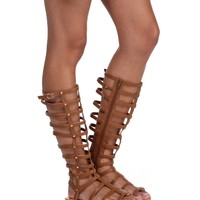Brown Tall Studded Gladiator Sandals