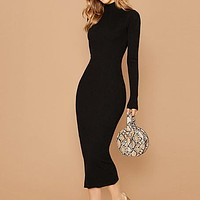 Black Stand Collar Ribbed Knit Bodycon Dress Women Solid Long Sleeve Office Ladies Form Fitted Pencil Long Dresses