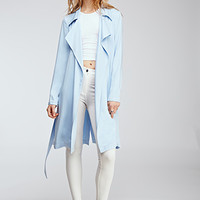 Drapey Twill-Woven Trench Coat