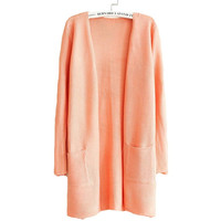 New 2017 Womens Light Spring Candy Color Long-sleeve Knitted Cardigan Sweater