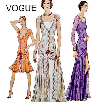 Romantic Flounce Skirt Dress and Bias Slip Vogue Pattern 7571 Low V Neckline Wedding Special Occasion Sewing Patterns Uncut Size 8 10 12