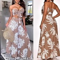 2020 new arrivals women's sexy tube top printed wide-leg jumpsuit