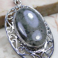 Moss Agate 925 Sterling Silver Overlay Pendant Of: 73mm ,Brings Wearer Wealth Friends and Riches,Fertility Stone, Gifts Under 10,20,30