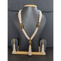 Tassel style Seed bead Necklace and Dangle Earrings Set