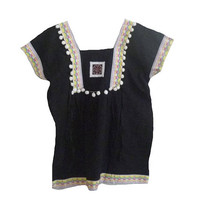 """Black blouse Pom pom shirt Square collar shirt Tribal shirt blouse with strap hill tribal Korean style Bust 40"""" Embroidered shirt women"""