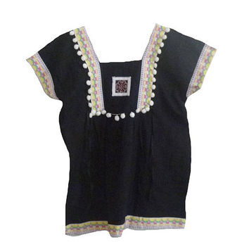 "Black blouse Pom pom shirt Square collar shirt Tribal shirt blouse with strap hill tribal Korean style Bust 40"" Embroidered shirt women"