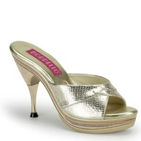 Gold Snake Skin Textured Leather Peep Toe Slip On Heels