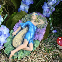 Fairy Garden Sleeping Fairy on a Leaf Concrete OOAK Fairy