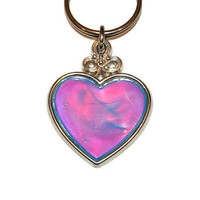 Vintage Multi-color Heart Keychain, Metal Keychain, Collectible Keyring, Love Gift, Best Friend Gift, Heart Charm, Love Keychain