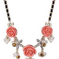 BetseyJohnson.com - THREE FLOWER FRONTAL NECKLACE PINK