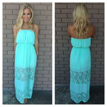 Keepsake Lace Strapless Maxi Dress - MINT