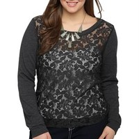 Plus Size Long Sleeve High Low Lace Front Top with Side Zipper Accents