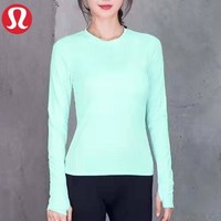 Lululemon New fashion solid color women sports leisure hooded long sleeve top sweater Mint Green