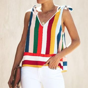 2020 new women's V-neck striped loose tank top