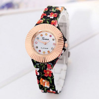 Women's Fashion Stylish Novelty Black Flower Print Strap Wrist Watch