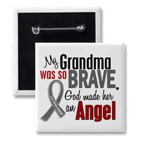 My Grandma Is An Angel 1 Brain Cancer Pinback Buttons from Zazzle.com