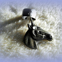 An Antique Silver Horse Ear Cuff, Equestrian, Cowgirl, Western, Horse lovers, Ready to ship, Direct to Ship