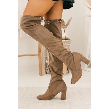 Never Looked Better Faux Suede Thigh High Boots (Warm Taupe)
