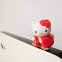 Cute and Charm Hello Kitty  in Super Cute Dress playing ball IPhone & ear phone dust plug -  Cellphone Accessories