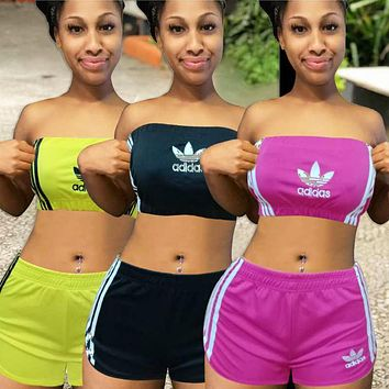 ADIDAS women's new casual fashion two-piece tube top shorts suit