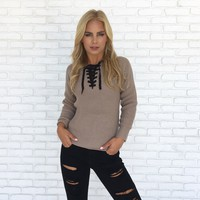 All Tied Up Knit Sweater in Mocha