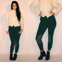 Vintage Riding Pants, Hunter Green Authentic Jodhpurs, Horseback Riding Pants, Tight Fitting Trousers  by Millers