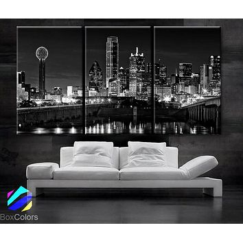 """LARGE 30""""x 60"""" 3 Panels Art Canvas Print beautiful Dallas tx Skyline Black & White Wall Home (Included framed 1.5"""" depth)"""