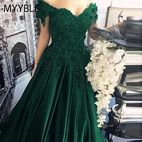 MYYBLE Long Floor Length Formal Dress Robe De Soiree Elegant Green Satin Evening Dresses Ball Gown Lace Sweetheart Evening Gowns