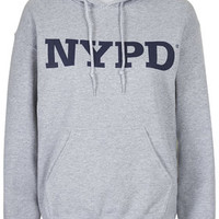 NYPD Hoodie By Tee and Cake - Grey Marl