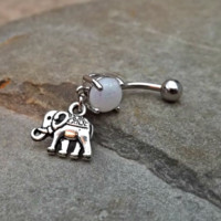 Elephant White  Fire Opal Belly Ring Navel Ring Body Jewelry 14ga Surgical Steel