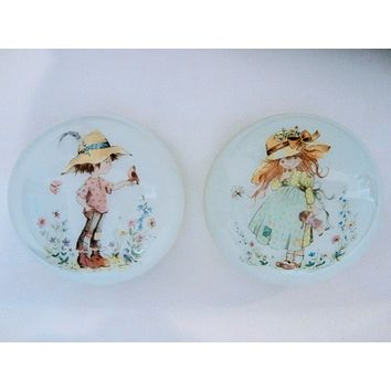 Opalescent Glass Figurative Paperweights Infused Children In Play
