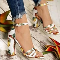 New large size women's shoes pineapple print thick heel sandals women shoes