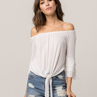 AMUSE SOCIETY Bonjour Womens Off The Shoulder Top