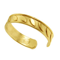 14K Yellow Gold Curved Inlay Leaf Design Cuff Style Adjustable Toe Ring
