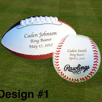 Ring Bearer Gift, Engraved Baseball, Engraved Football, Wedding Gifts, Christmas Gift, Keepsake, Design #1