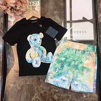 LOUIS VUITTON LV Boys and girls middle and large children's baby Pullover short sleeved pants
